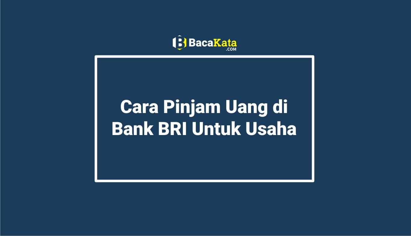 Cara Pinjam Uang di Bank BRI Untuk Usaha